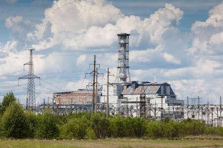 Chernobyl power plant view. Summer season. Ukraine Chernobyl aria. Zdjęcie Seryjne