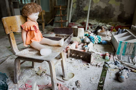 chernobyl: Kindergarten in Chernobyl area. Lost city Pripyat. Modern ruins. Ukraine. Kiev region. Stock Photo