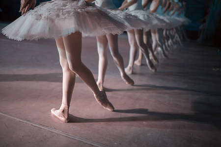 Dancers in white tutu synchronized dancing on stage. Repetition.