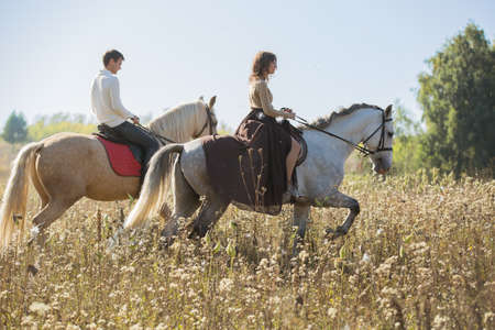 horses in field: Young couple in love riding a horse walking on the background of autumn nature in a beautiful field.