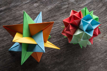 Star And Flower Kusudama Origami On The Textured Surface Star