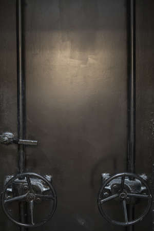 doorhandle: Iron old door with two valves and a doorhandle. Sunlight and doors parts reflected on the doors surface. Vertical. Stock Photo