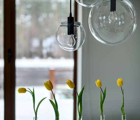 Five Yellow Tulips In Glass Vases And Glass Round Lamps Over Stock