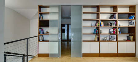 Hall with light walls and a light parquet on the floor. There are brown-white bookcases with books and models of old airplane and bike. Between the bookcases there are frosted glass sliding doors. Big white ornamental round lamps reflected in the doors. B