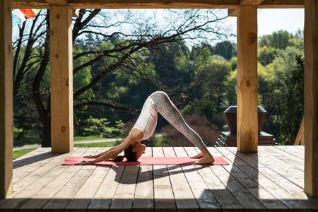 Hermosa Muchacha A Yoga En La Terraza De Madera En El Fondo De La Naturaleza Ella Está De Lado En El Perro Que Mira Hacia Abajo Plantean Sobre La