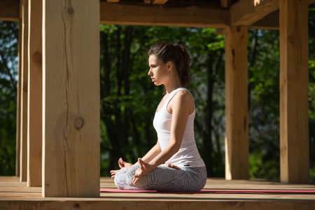 yoga pants: Young girl is meditate in lotus pose on the wooden terrace on the nature background. She sits on the red yoga mat with her hands on the knees. Her index fingers and thumbs are together. She wears white sleeveless t-shirt and gray pants with patterns. She