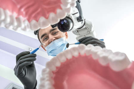 Cheerful dentist looks through the tooth jaw models. Man holds a dental bur and a mirror. He wears black gloves and a blue medical mask. Dental microscope is next to him. View from the bottom.