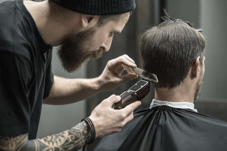 incomparable: Incomparable barber with a beard and a tattoo is cutting the hair of his client in the black cape in the barbershop. He is using a cutting comb and a hair clipper. Hairdresser dressed in black wear.