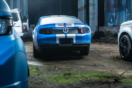 sportcar: Kiev, Ukraine - 14 May 2014: Ford Mustang tuning sport-car. It colored in blue color with white stripes. Editorial photo. Shoot from the back. Editorial