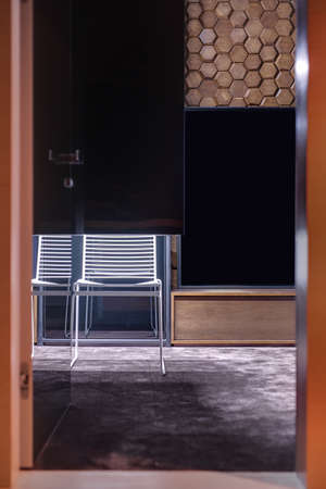 specular: Room in a modern style with a burgundy carpet on the floor and a wooden wall textured with hexagons. There is an open door of the specular wardrobe, white chair on the mirror background, wooden rack.