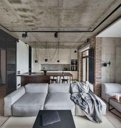 Living-room and a kitchen zone in a loft style with concrete and brick walls. There is light sofa with plaid, wooden tables, kitchen island, lamps, plant. On the floor there is a parquet and carpet.