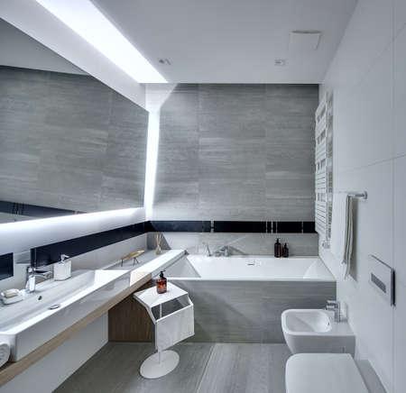 Modernes Badezimmer Gefliest Mit Den Weißen Und Grauen Fliesen Es - Große graue fliesen