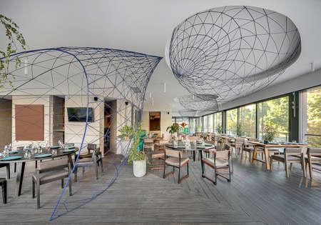 round chairs: Restaurant in modern style Stock Photo