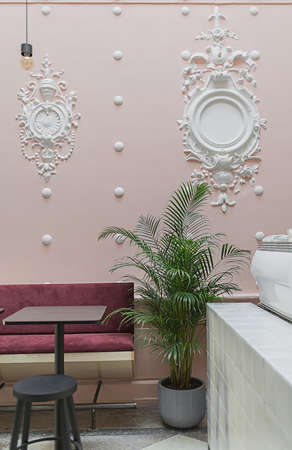 Cafe with stucco molding