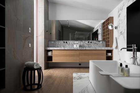 Stylish modern bathroom Фото со стока