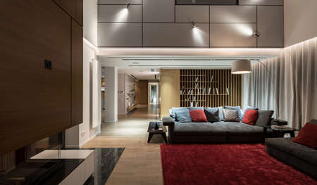 Luminous modern hall with light walls and a parquet with a red carpet on a floor. There are sofas with pillows, small table, fireplace, shelves with books, corridor with a column, different lamps. Фото со стока