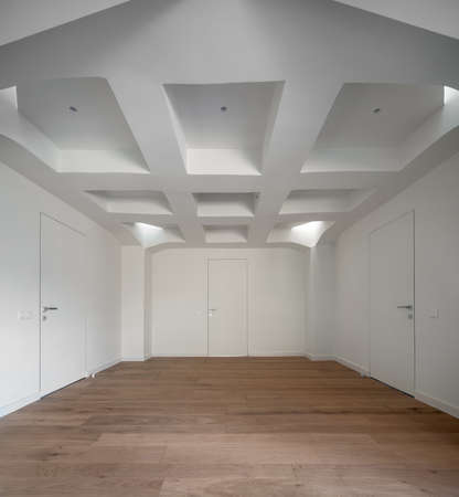 Stylish interior in modern style with design white false ceiling