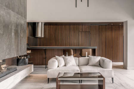 Modern interior with different walls and fireplace