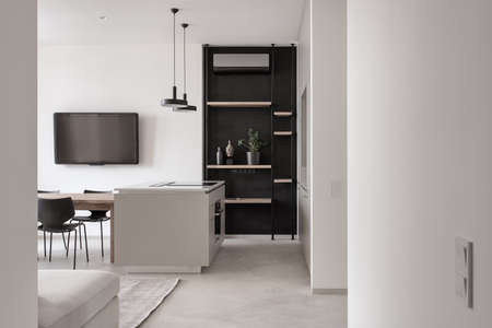 Kitchen in modern style with light walls and gray floor
