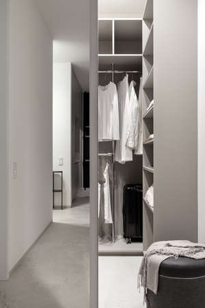 Modern wardrobe with sliding mirrored doors and luminous lamps