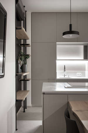 Kitchen in modern style with light walls and gray floor and illumination