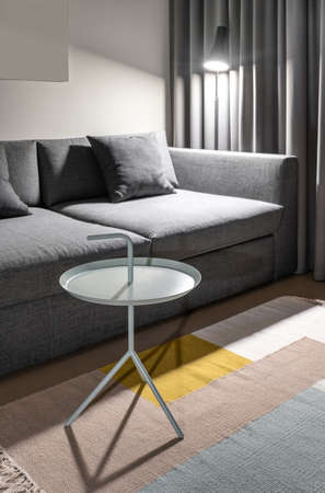 Stylish modern interior with white walls and a multicolored carpet on the parquet floor. There is a gray sofa with pillows, fancy metal round light stand, curtains, luminous dark lamp. Vertical.
