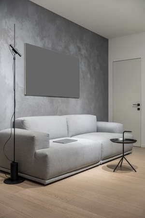 Luminous modern interior with different walls and a parquet floor. There is a gray sofa with a laptop, fancy round metal black stand and a floor lamp, door. Vertical. Zdjęcie Seryjne