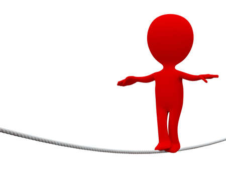 Red person Rope-walker on white background photo