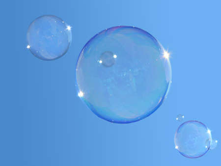blowing bubbles: Real soap-bubbles on the blue sky. Beauteful sunny day. Very nice colors of sky.