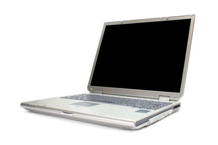 Modern silver laptop with black screen isolated on white with clipping path Stock Photo - 2886692