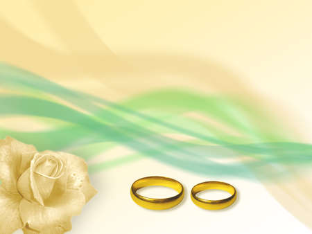 Two wedding golden rings in soft-colored background. Light-green and yellow bands. Yellow rose flower. Stock Photo