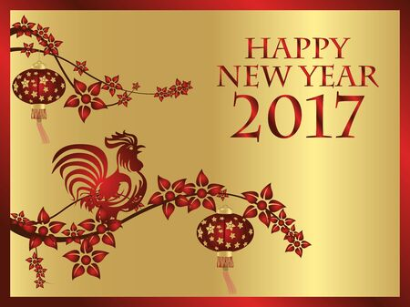 Happy New Year, Year of the Rooster. Chinese style. Illustration
