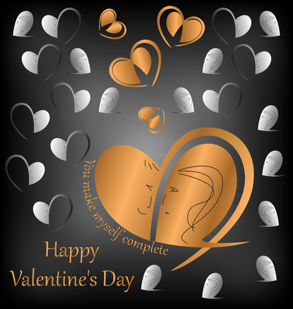 Congratulations on the Valentine's day. It can be used as design elements in your project will dedicate. Vector. Abstract. Zdjęcie Seryjne - 69451013