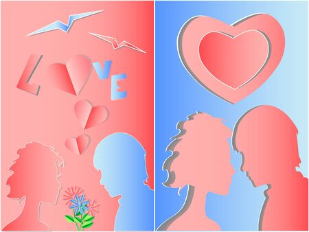 Valentines day background. Silhouette of girl and boy in love on Valentines Day. It can be used as a poster, postcard, background. Abstract. Vector. Illustration