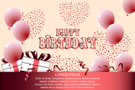 Birthday theme background with gift boxes and balloons vector illustration. Иллюстрация