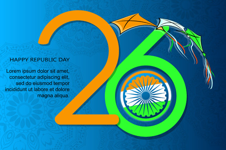 Indian Republic Day, 26th January background with wheel. Vector illustration.