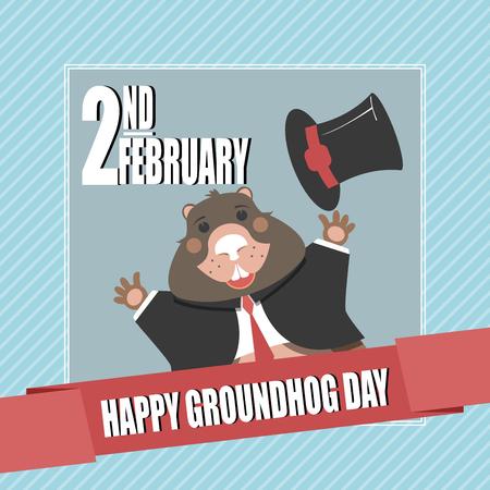 Groundhog day poster. Vector illustration.
