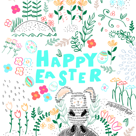 Happy Easter background. Vector illustration With rabbits, flowers, eggs.
