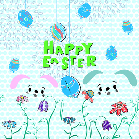 Happy Easter background. Vector illustration With rabbits, eggs, flowers.