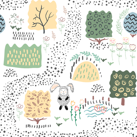 Forest seamless pattern background. Shift brick 0.5. Vector illustration. Иллюстрация