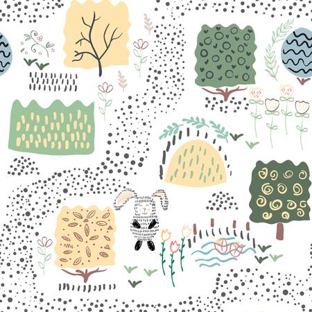 Forest seamless pattern background. Shift brick 0.5. Vector illustration. Vettoriali