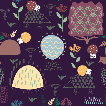 Forest seamless pattern background with plants and hedgehog.