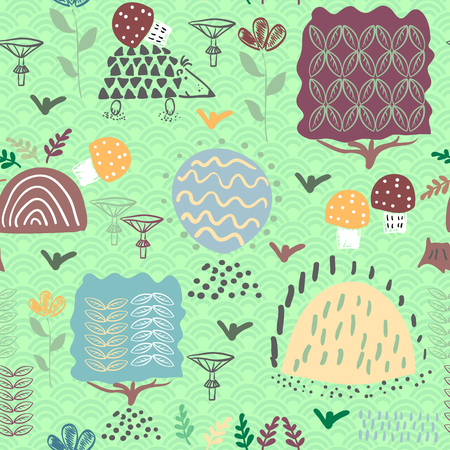 Forest seamless pattern background with plants and hedgehog. Vector illustration. Illustration