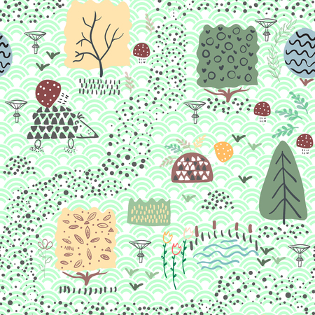 Forest seamless pattern background with plants and hedgehog. Tile shift 0.5 Vector illustration.