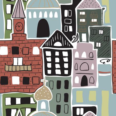 Cartoon buildings vector illustration.