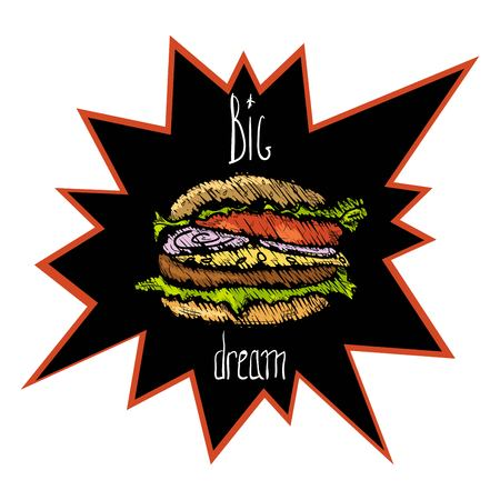 Hamburger image with inscription of big dream in quoted in black backdrop illustration.