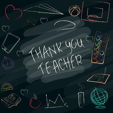 Teacher's day hand drawn poster with the words Thank you teacher. Ilustração