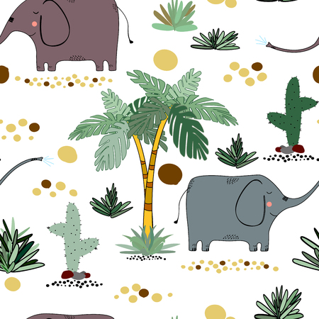 Creative seamless childish pattern with cute cartoon animals.