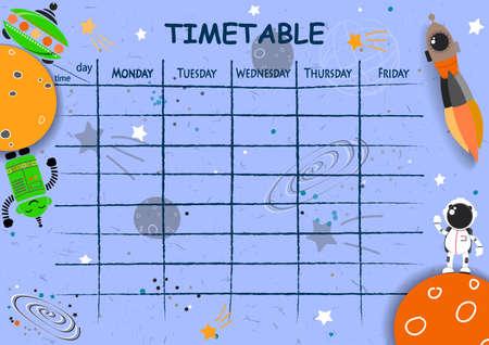 Fondo dell'orario scolastico con elementi spaziali disegnati a mano. Illustrazione vettoriale.