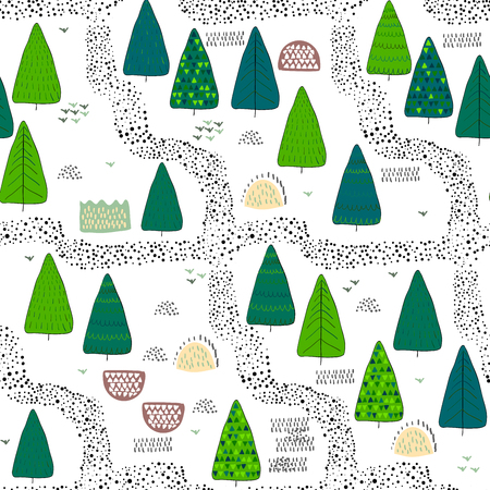 Forest seamless pattern background. Scandinavian style. Vector illustration